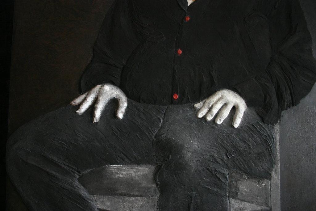 """Détail """"Le portrait du collectionneur"""". Juin 2011, 200 x 102cm. Collection privée"""