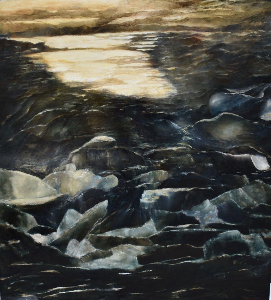 """""""Crépuscule"""" Huile sur bois, 160x146x5cm"""